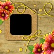 Vintage photo frames and red and yellow daisies — Stockfoto