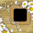 Vintage photo frames and white daisies — Stock Photo