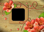 Altes photo frames und blumen orange — Stockfoto