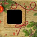Vintage photo frames and Christmas tree — Stock Photo