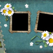 Vintage background with frames for photos — Stock Photo