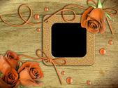 Ramki na zdjęcia archiwalne i róże — Zdjęcie stockowe