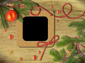 Vintage photo frames and Christmas tree — Stock Photo