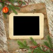 Christmas tree, and retro framework — Stockfoto