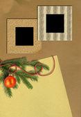 árbol de navidad y marcos de fotos — Foto de Stock