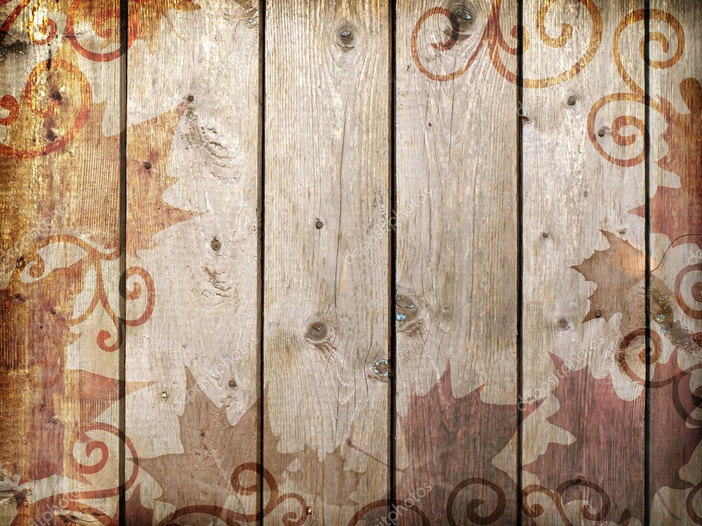 Wood vintage background with autumn leaves        Stock Photo #6692414