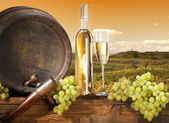 Still life with barrel and vineyard — Stock Photo
