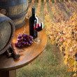 Still life with red wine on vineyard — Stockfoto