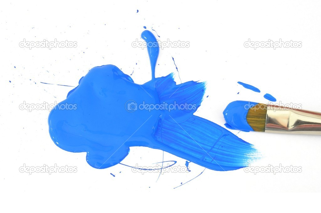 Blue color and artist brush isolated on white background — 图库照片 #5384712