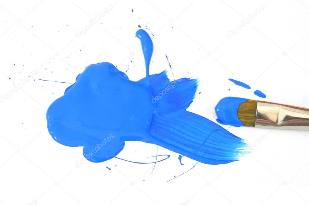 Blue color and artist brush isolated on white background  Photo #5384712