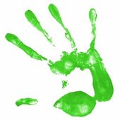 Hand print with green color — Stock Photo
