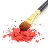 Make-up borstel en cosmetische poeder — Stockfoto