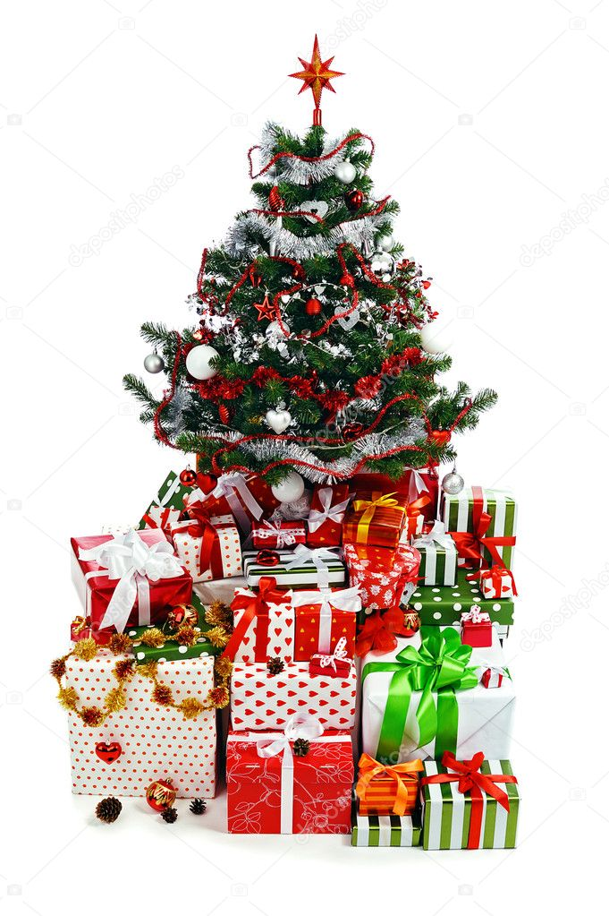 Christmas tree with heap of red gift boxes decorated with satin ribbon isolated on white background — Stock Photo #6057721
