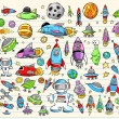 Color Doodle Notebook Mega Space Set Vector Illustration - Stok Vektr