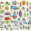 Color Doodle Notebook Mega Space Set Vector Illustration - Vettoriali Stock 