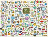 Volta para ilustração vetorial conjunto de escola de aprendizagem — Vetorial Stock