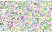 Notebook Doodle Color Speech Bubble Arrow Vector Illustration Set — Stock Vector