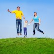 Happy family in the jump — Stock Photo #5625327