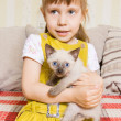 Girl with a kitten — Stock Photo