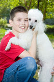Boy with dog — Stock Photo