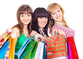 Girls with shopping — Stock Photo