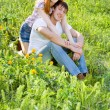 Couple on the grass — Stock Photo