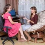 Two girls talking — Stock Photo