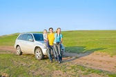 Family travels by car — Stock Photo