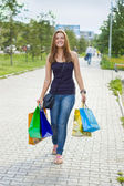 Woman with shopping — Stok fotoğraf