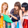 Stock Photo: Girls with shopping
