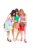Three girls with shopping — Stok fotoğraf