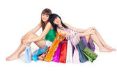 Two girls with shopping — Stock Photo
