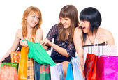 Girls with shopping — Stok fotoğraf