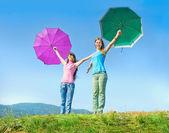 The two girls enjoyed good weather — Stock Photo