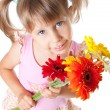 Girl with a bouquet of chrysanthemums — Stock Photo
