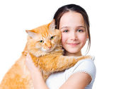 A girl with a big red cat — Stock Photo