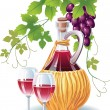 Stock Vector: Bottle of wine