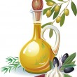 Stock Vector: Bottle of olive oil