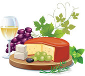 Cheese and white wine — Stock Vector