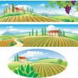 Stock Vector: Banners with agriculture landscape