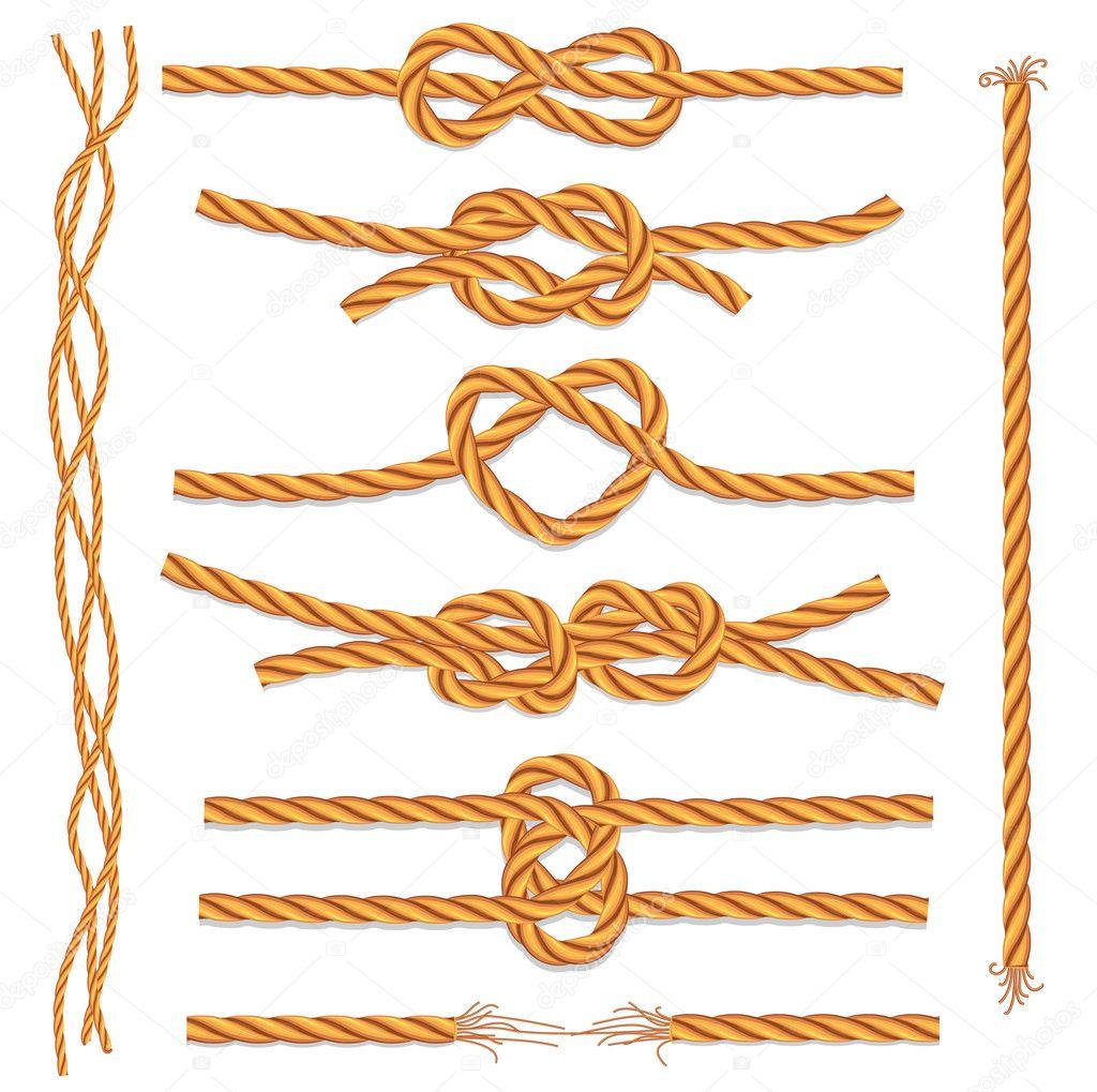 Набір мотузки і вузлів - Стоковий вектор wikki33 #6080155