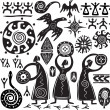 Elements for designing primitive art — Vector de stock #6188803