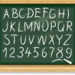 Stock Vector: Alphabet and numbers on a blackboard