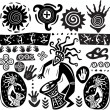 Set of elements in the style of primitive art - Stock Vector