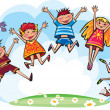 Jumping children — Vettoriali Stock