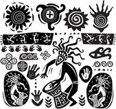 Set of elements in the style of primitive art — Stock Vector
