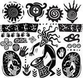 Conjunto de elementos no estilo de arte primitiva — Vetorial Stock