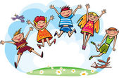 Jumping children — Stock Vector