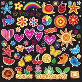 Set of cheerful sticker — Stock Vector