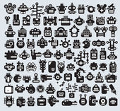 Big set of monsters and robots faces. — Stock vektor